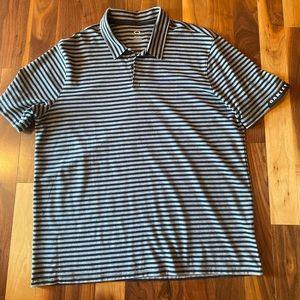 Oakley Men's Golf Shirt in Grey and Black Stripes